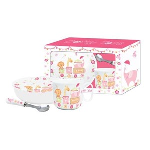 """Dotty Tots Girl"" Ceramic Breakfast Set"