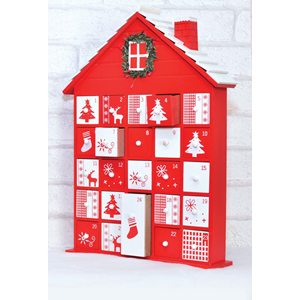 """Wooden Advent Calender - Red & White House"""