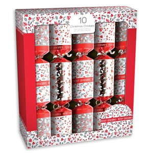 """10 Christmas Crackers, Red & White Berries"""