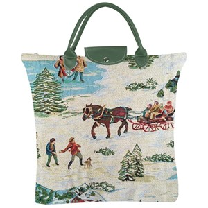 "Fold Away Shopper Bag ""Christmas Sleigh"""