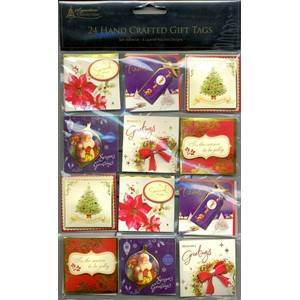 """Traditional  Xmas, 24 Handcrafted Gift Tags{[quote]"