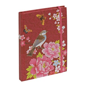 """Red Flower & Bird"" Notebook A6, linjert"