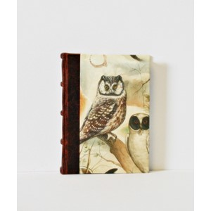 """Fox & Owl"" Half-Leather Bound Journals, B7,"