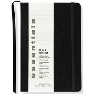 """Essentials"" Large Black Ruled Notebook"