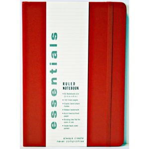 """Essentials"" Large Red Ruled Notebook"