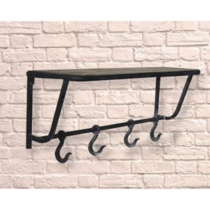 """Industrial Wooden Shelf and Meat Hook Rail"" Hatte-hylle"