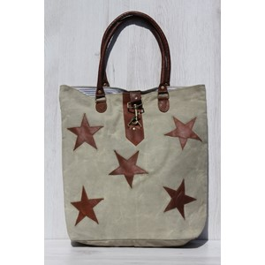 "Shopper ""Khaki with Leather Stars"" Canvas"