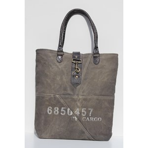 """Cargo Numbers"", Black Wash Shopper Bag"