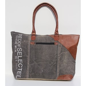 "Tote Bag""Zipped Multi Canvas with Leather Corner"