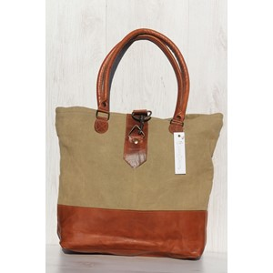 Plain Canvas, Tote Bag with Leather Bottom