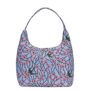 "Hobo Bag Premium ""Almond Blossom and Swallow"""